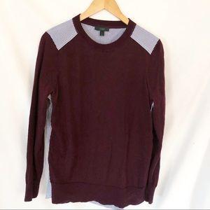J Crew Crew Neck sweater burgundy M Pinstripe back